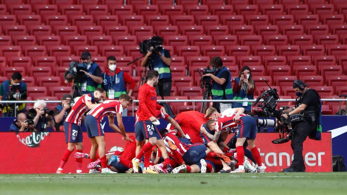 Atlético's players celebrate the achievement of the League last season.