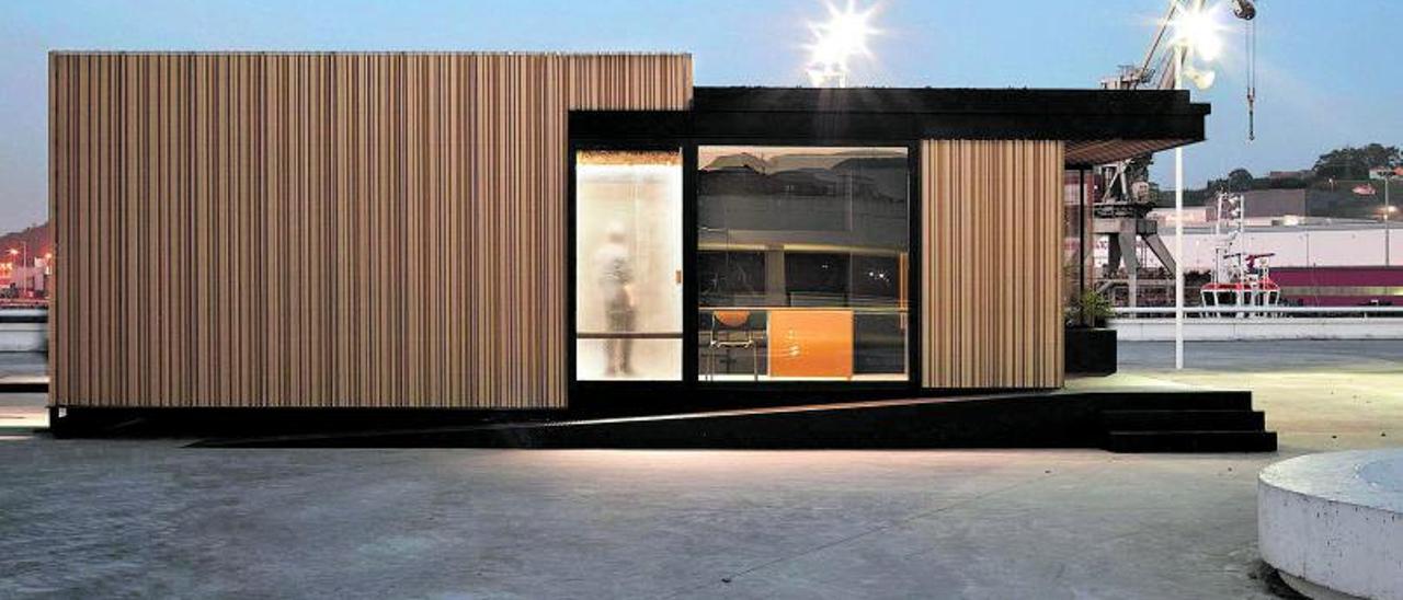 """Un módulo """"suite"""" de la Room 2030 instalado en Avilés."""