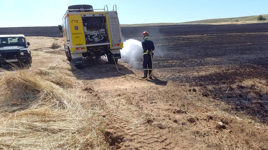 Un incendio calcina nueve hectáreas en una parcela próxima a la A-11 en Toro