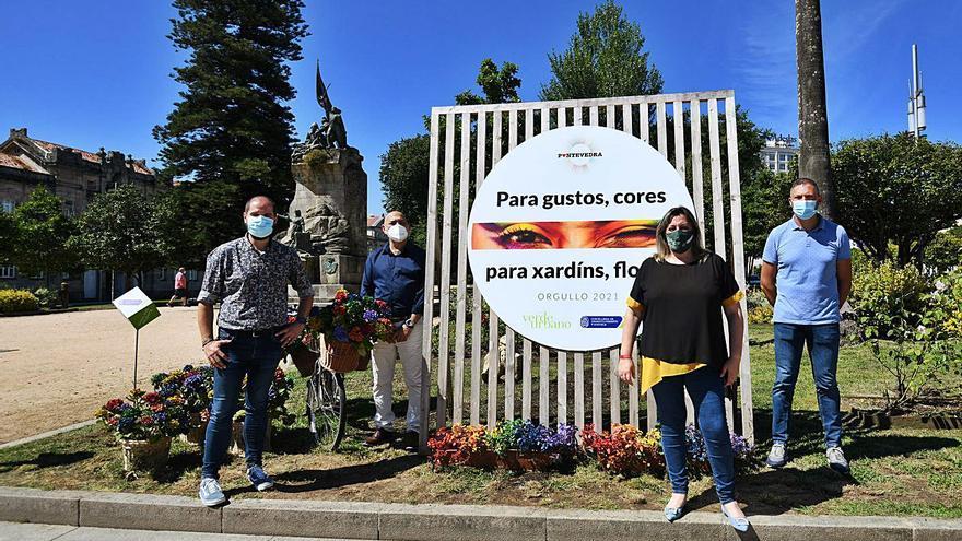 Los jardines de Pontevedra se visten con los colores del Orgullo