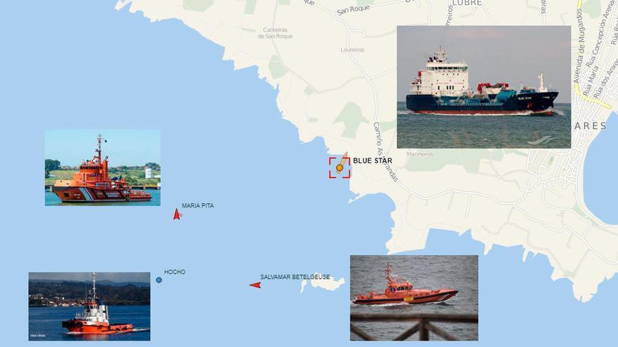 Un petrolero es rescatado tras encallar en rocas de aguas de A Coruña