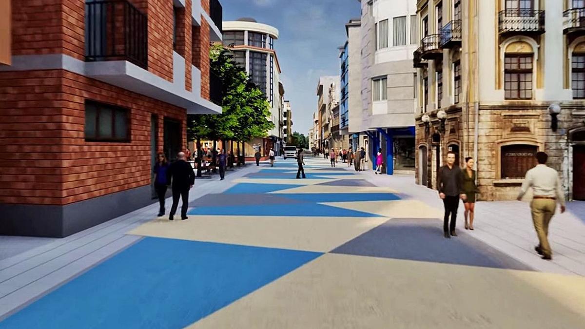 Recreación del aspecto que tendrá, tras las obras, la calle Libertad. | LNE