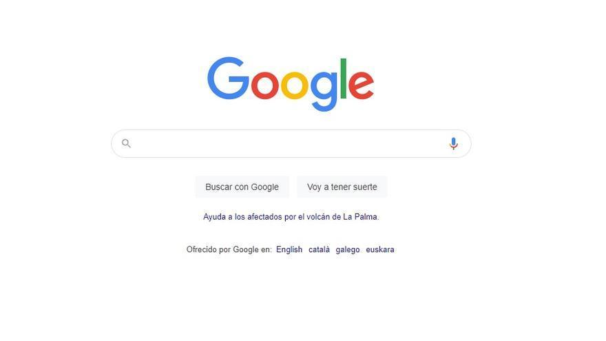 El buscador de Google incorpora un enlace para ayudar a los afectados de La Palma