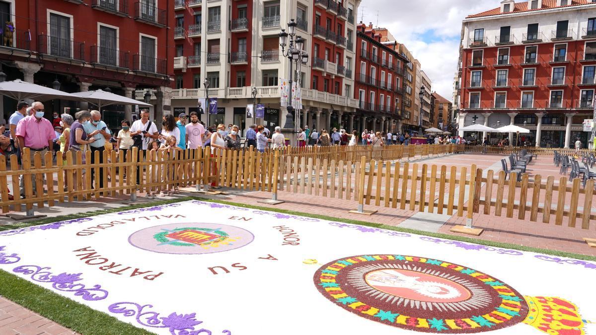 Alfombra de la Virgen de San Lorenzo en la Plaza Mayor de Valladolid.