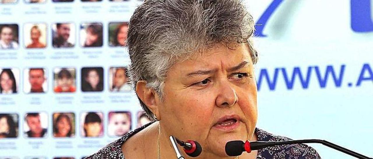 Pilar Vera, presidenta de la Asociación de Víctimas del JK5022, en un acto. | |LP/DLP