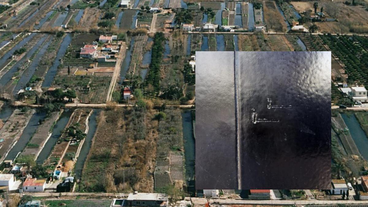 Imagen panorámica de la zona, con un recorte con las marcas que realizan los presuntos ladrones.