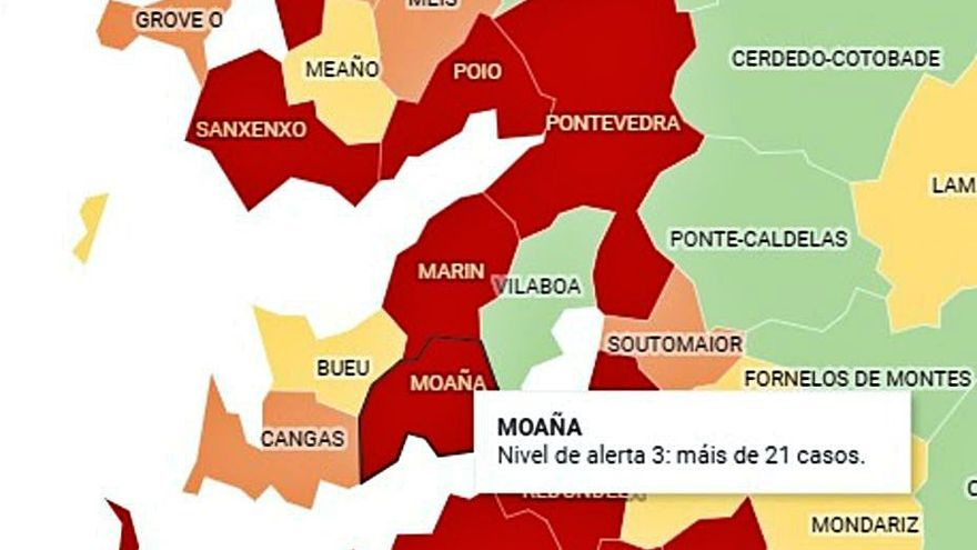 Moaña regresa a la alerta roja al sumar 32 positivos activos por Covid-19