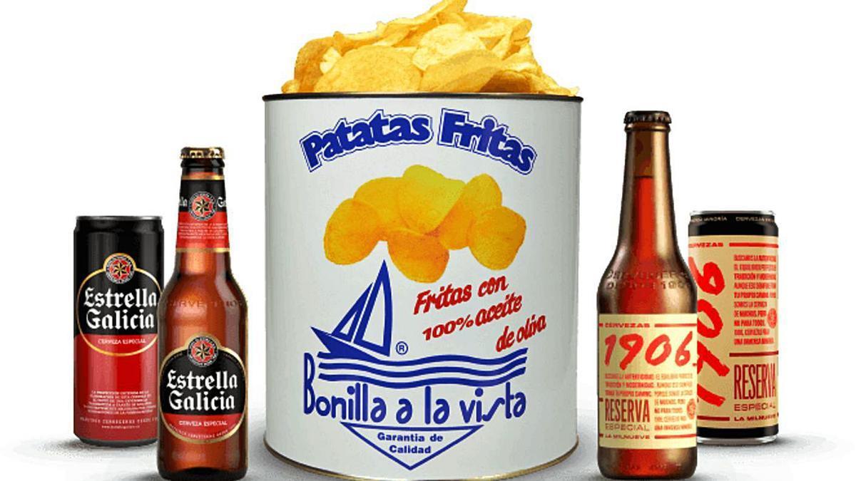 Combo de cervezas Estrella Galicia y patatas Bonilla, en la la tienda 'online'.     // L.O.