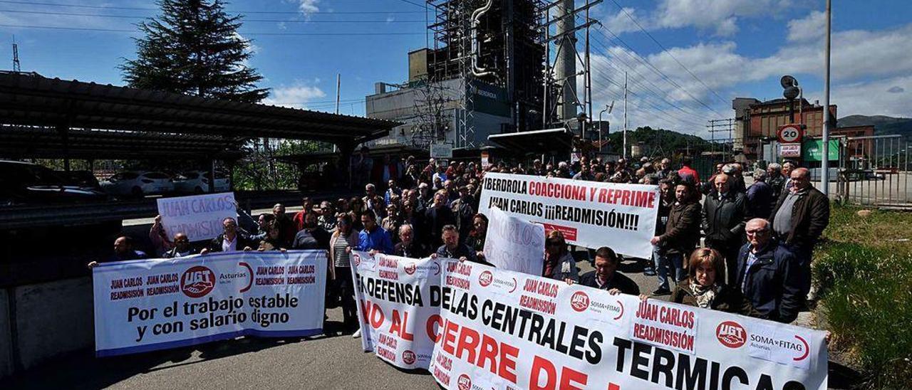 Una de las protestas protagonizadas por los trabajadores de la central térmica.