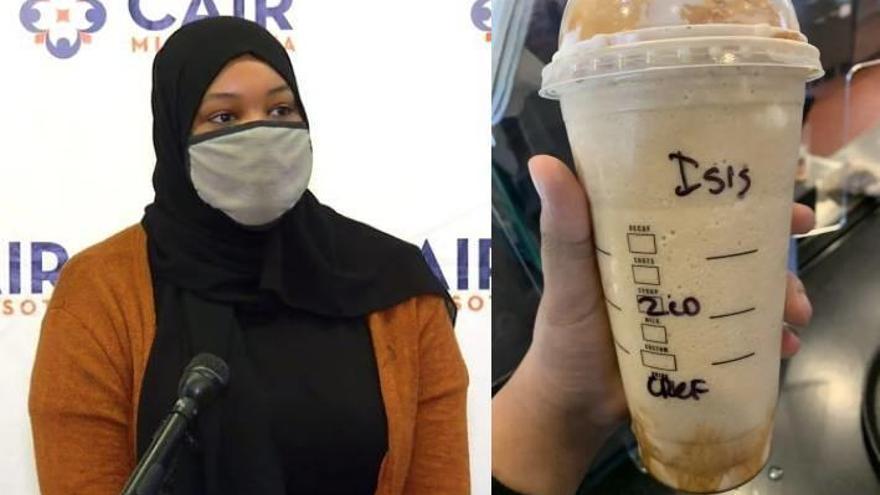 """Una musulmana recibe un vaso del Starbucks con el nombre """"ISIS"""""""