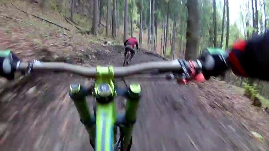 ¡Qué locura! Un oso pardo persigue a un ciclista por la montaña