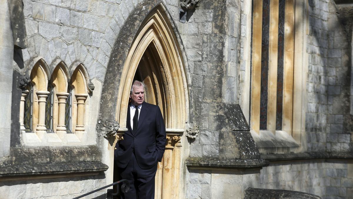 El príncipe Andrés este domingo en Windsor