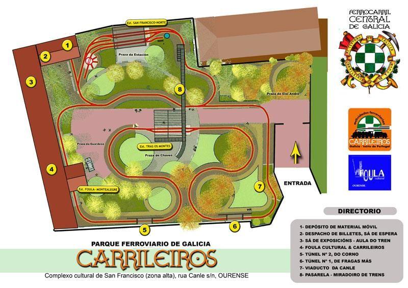 Plano del parque ferroviario de Os Carrileiros.