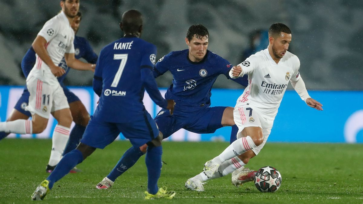 Hazard, en el partido Real Madrid-Chelsea de las semifinales de la Champions League 2020-2021.