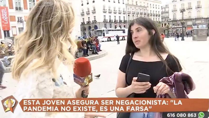 """Una periodista de Telemadrid se enfrenta a una joven negacionista: """"Estuve ingresada por covid"""""""