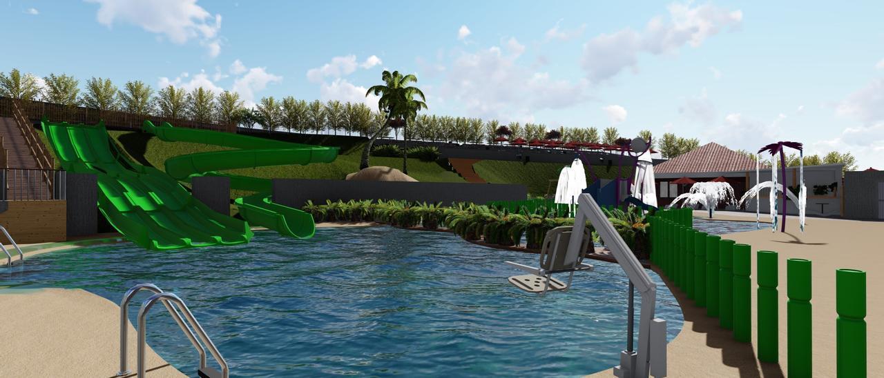 """Recreación del futuro """"aquapark"""" corverano"""