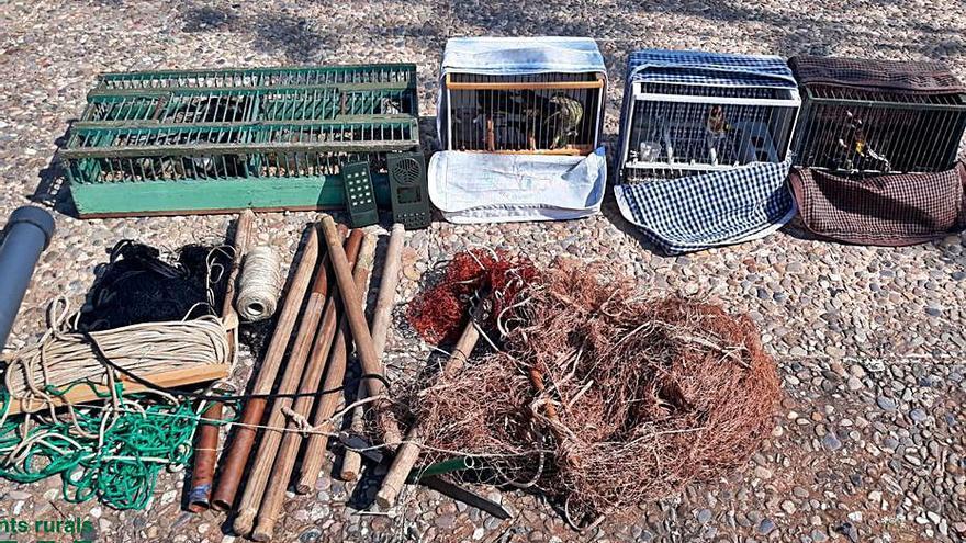 Atrapen tres furtius que havien capturat disset ocells amb una xarxa japonesa