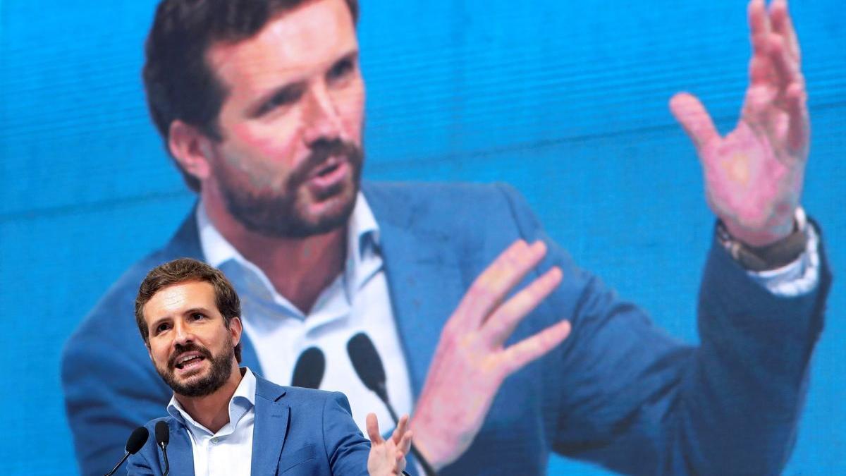 El presidente del PP, Pablo Casado, en un acto del partido en Galicia.