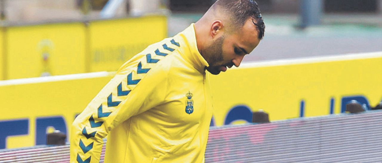Jesé Rodríguez, antes del partido frente al Rayo Vallecano el pasado 7 de marzo en el Estadio de Gran Canaria.     ANDRÉS CRUZ