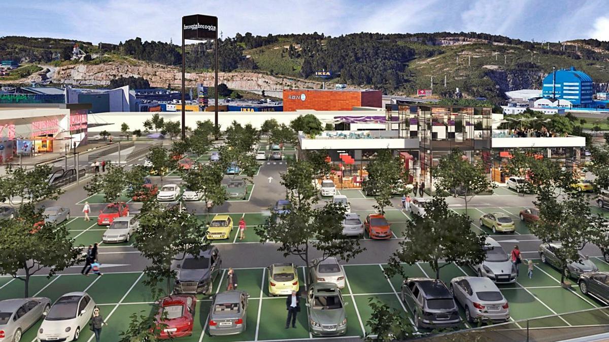 Recreación virtual de la zona de aparcamiento del proyecto Breogán Park.     // LA OPINIÓN