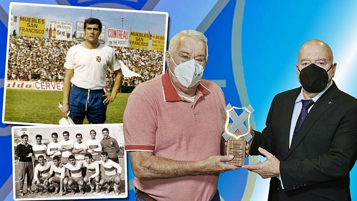 Momento de la entrega del reconocimiento a Alberto Molina por parte de Miguel Concepción.