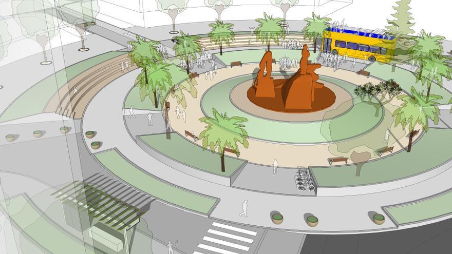 El proyecto de transformación de la Plaza de España empieza con la peatonalización de 5.000 metros cuadrados