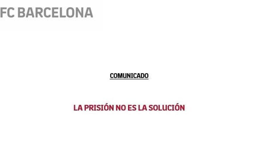 Comunicado del Barça sobre la sentencia del juicio del procés