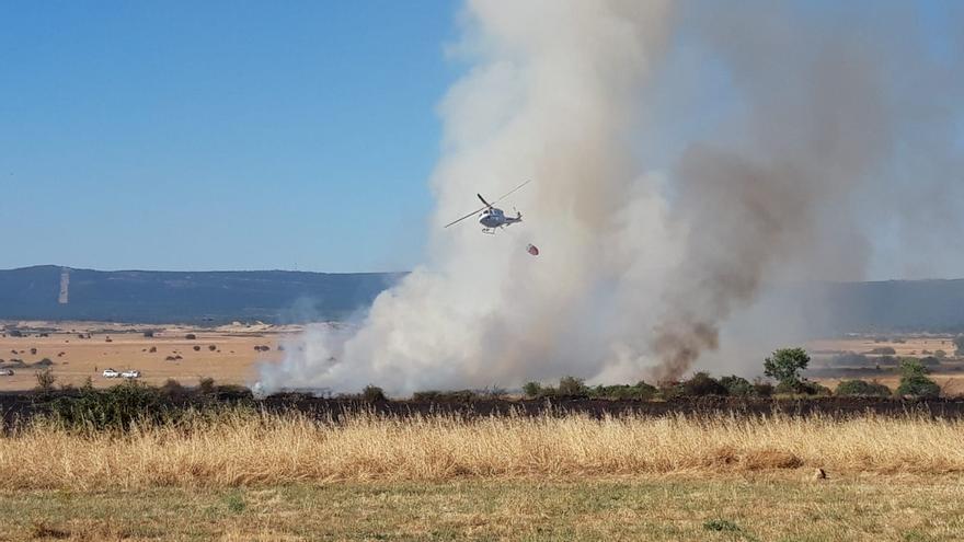 Los medios intervienen en el control de un incendio originado en Cañizal