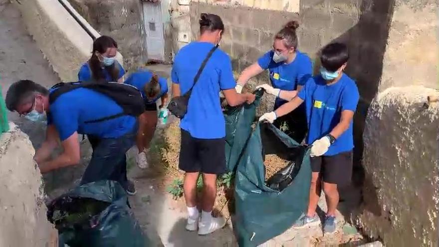 Alumnos de la ULPGC realizan tareas de limpieza en el Risco de San Nicolás