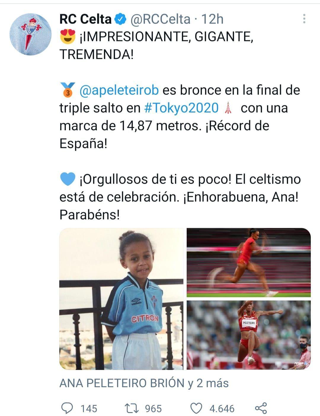 El club de su corazón, el Celta, se sumó al aplauso a través de su perfil de Twitter.