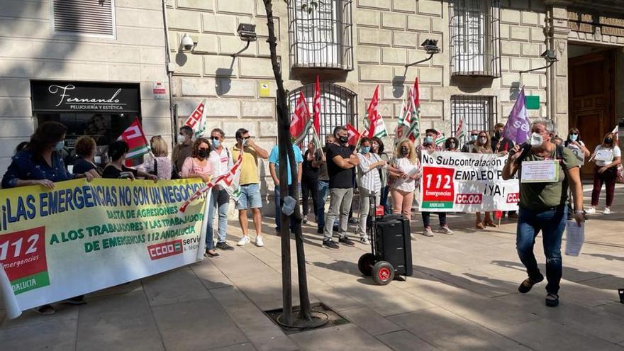 Concentración en defensa de los trabajadores del servicio del 112 en Málaga