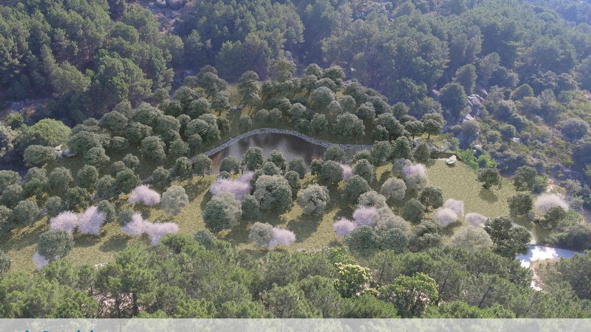 La charca de La Alberca vista desde el aire.