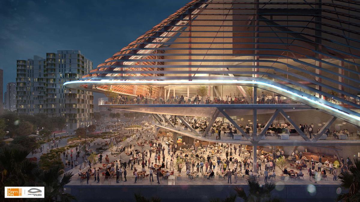 Terraza del futuro pabellón Casal España Arena de València que construye Juan Roig.