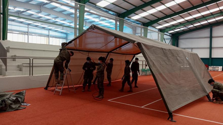El Ejército instala en Burgos carpas para la realizar test masivos