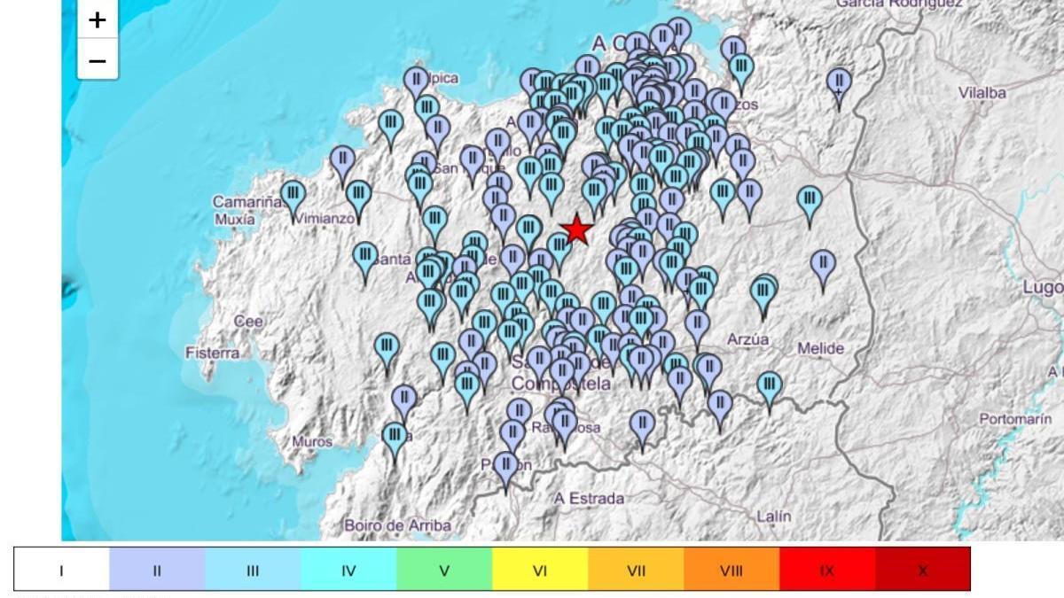 Intensidad del seísmo en las diferentes zonas en que se sintió en A Coruña.