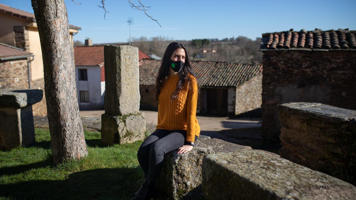 Lucía Fuentes en su pueblo, San Juan del Rebollar