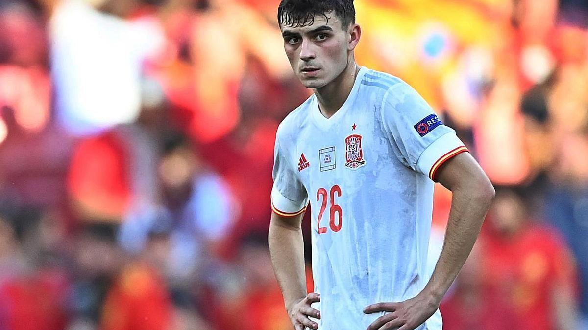 Pedri González, durante el partido de octavos de final de la Eurocopa jugado el lunes entre España y Croacia.