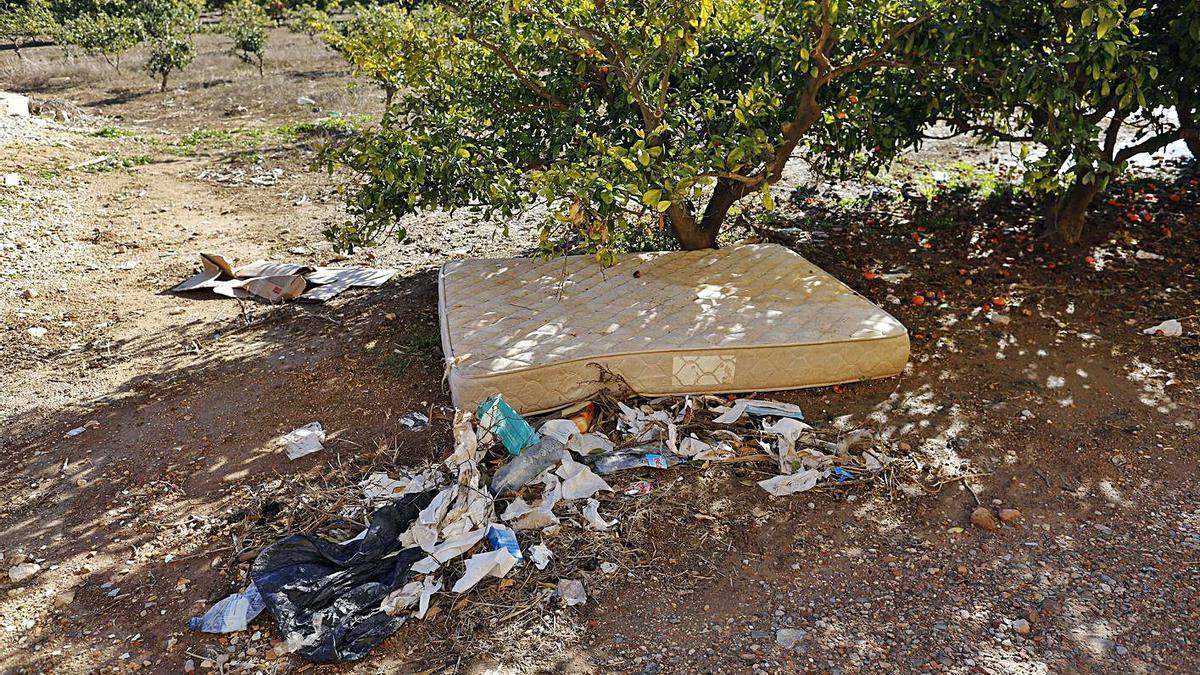 Un colchón mugriento rodeado de toallitas y condones usados al borde del Camí de la Marjal. | M. Ä. MONTESINOS