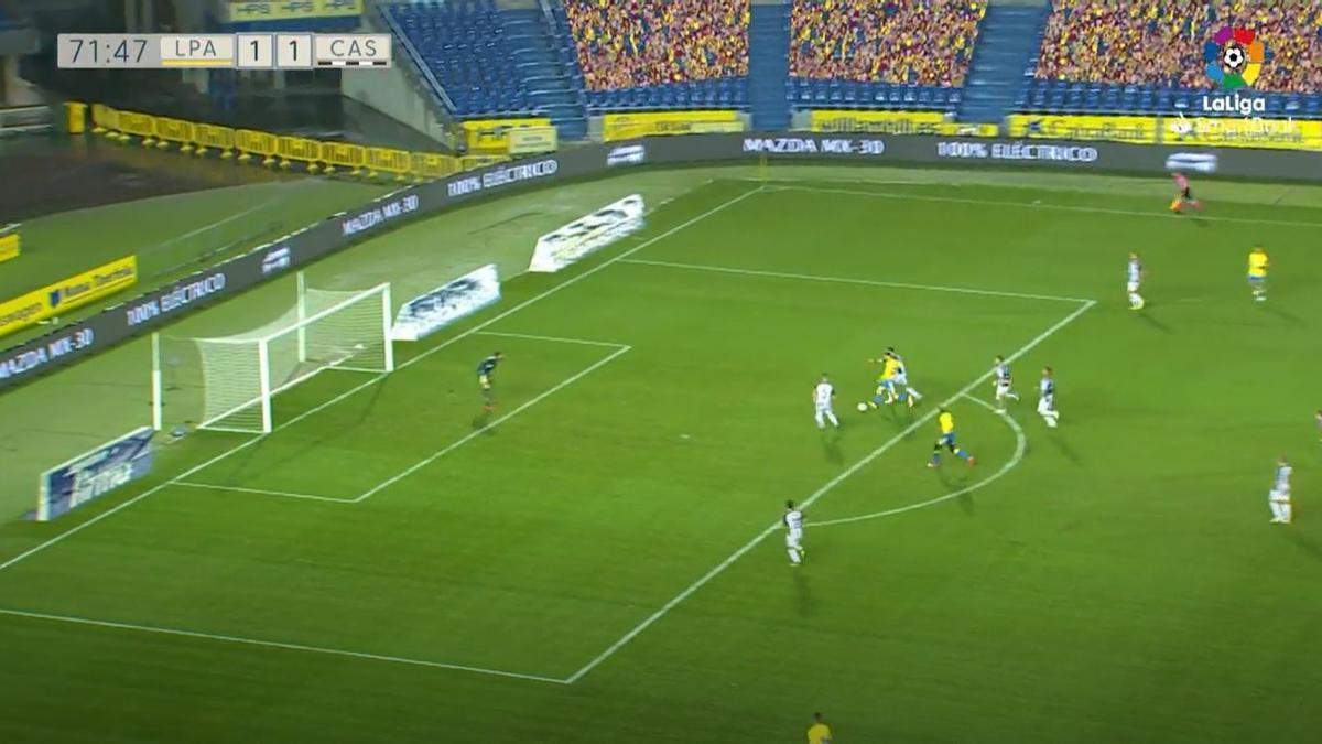 Jugada del gol de Rober González, que da la victoria a la UD Las Palmas frente al CD Castellón