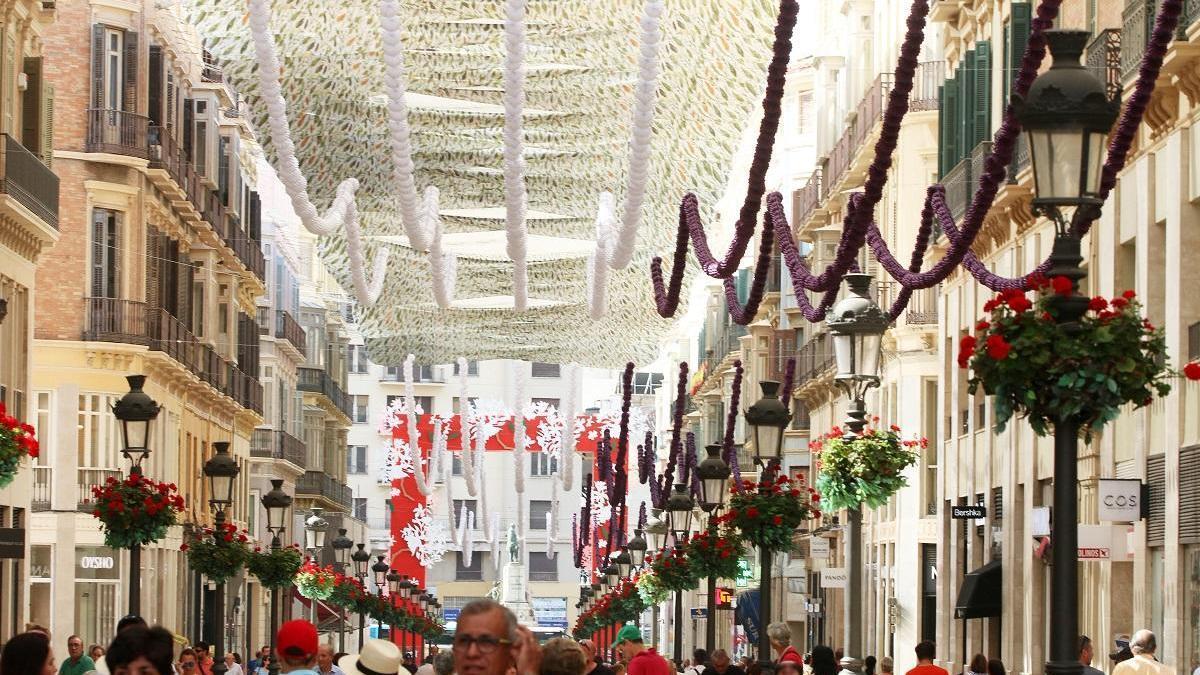 Calle Larios poco antes de la Feria de Málaga de 2018.
