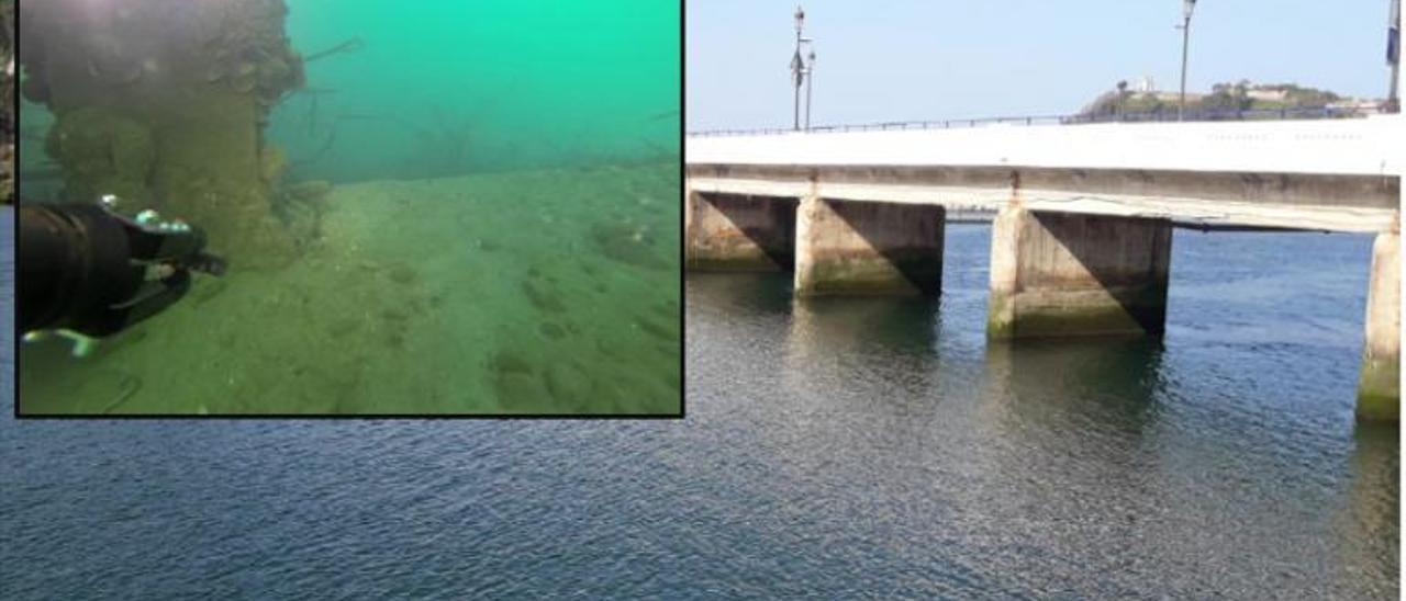 Los pilares del puente de Ribadesella pasan la inspección con un dron submarino