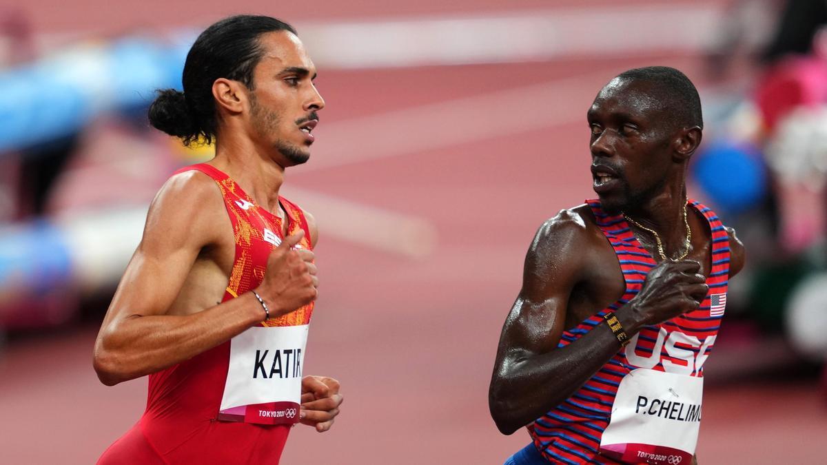 Mohamed Katir en las semifinales de 5.000 metros.