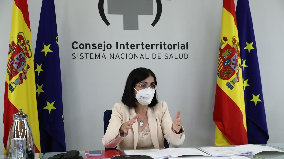 La ministra de Sanitat, Carolina Darias, durant el Consell Interterritorial de Salut
