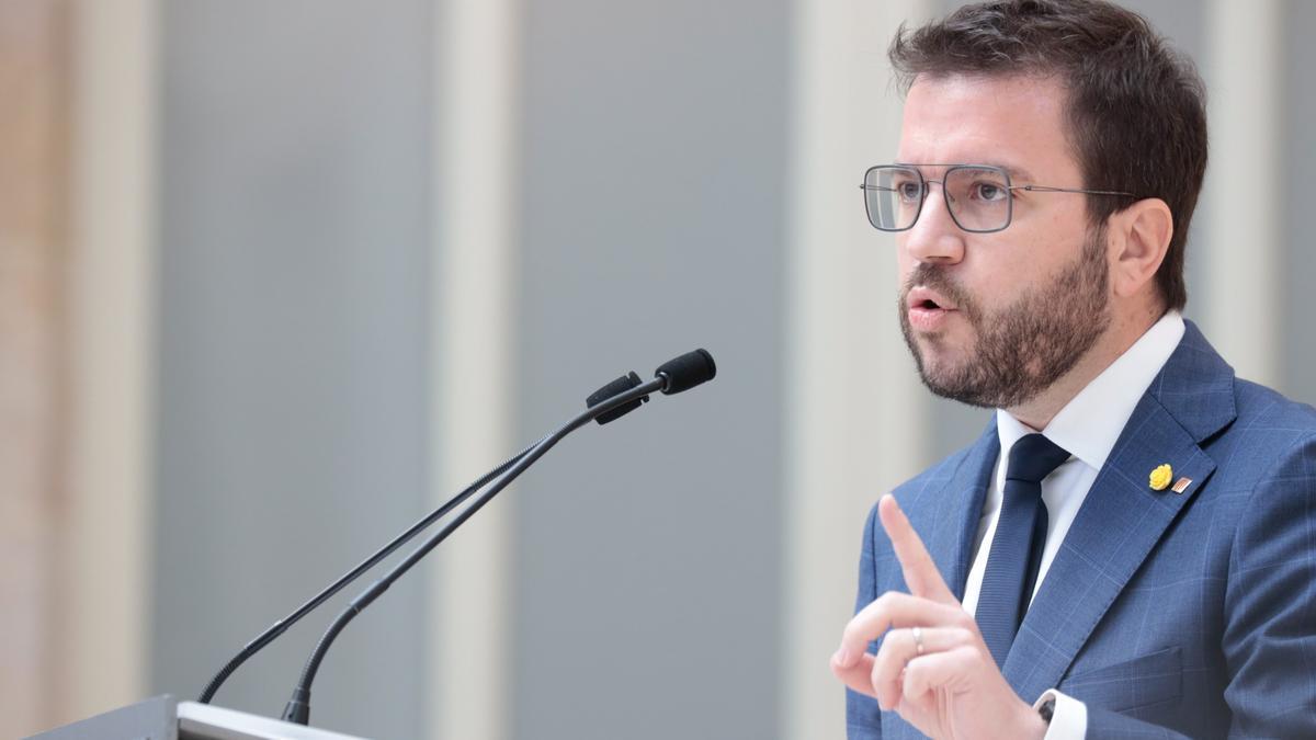 Una imagen de Pere Aragonès en la segunda sesión de investidura.