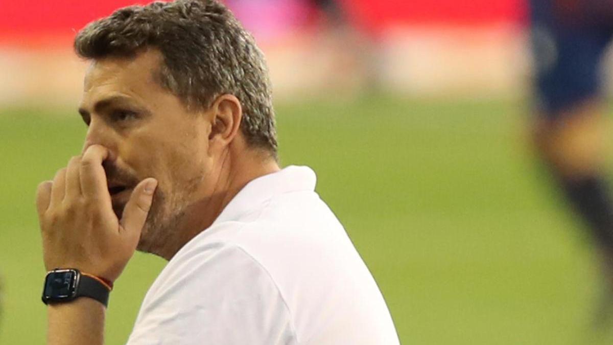 Óscar García en el partido del Celta ante el Levante