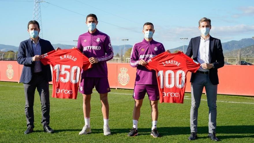 Sastre y Raíllo cumplen 100 y 150 partidos con el Real Mallorca