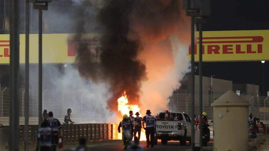 Paran la carrera del Gran Premio de Baréin por el gravísimo accidente de Romain Grosjean