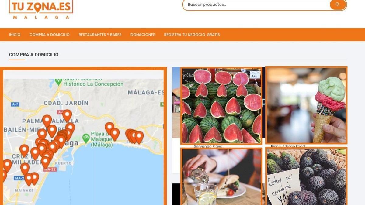 """Interfaz de la web """"compraentuzona.es""""."""