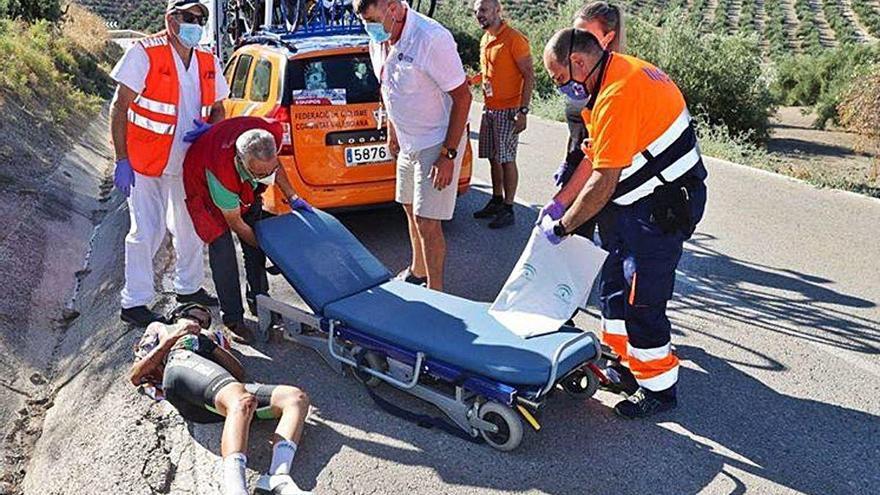 Pla sufre una caída sin consecuencias graves en Jaén que le impide terminar