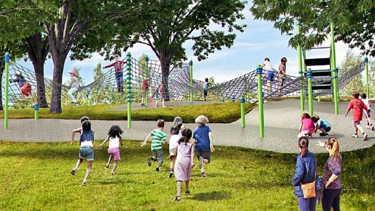 Recreación del nuevo parque infantil de A Corveira, en la zona de escalada y redes.  |  // LA OPINIÓN